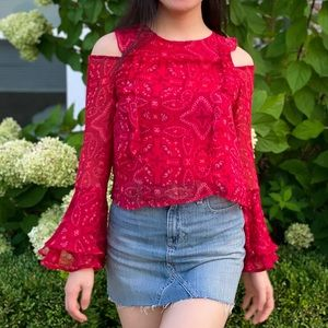 Red ruffle bell sleeve cold shoulder top